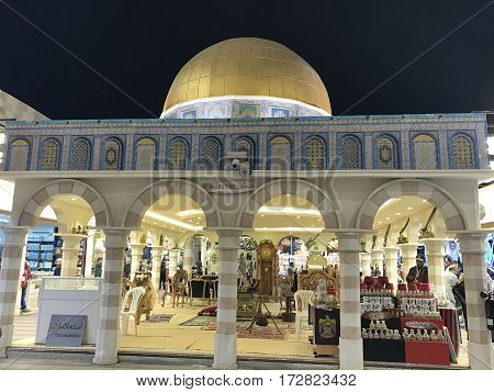 DUBAI, UAE - Feb 8: Palestine pavilion at Global Village in Dubai, UAE, as seen on Feb 8, 2017. The Global Village is claimed to be the world's largest tourism, leisure and entertainment project.