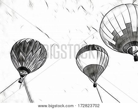 Air balloons flying in blue sky. Hot air balloons festival monochrome banner template. Romantic travel transport. Vintage flight vehicle with the basket for passengers. Striped hot air balloons in sky