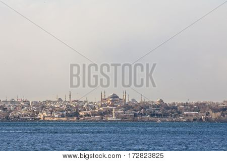 Ayasofya - Saint Sophia Mosque - Basilicca seen from Bosphorus strait in winter Istanbul Turkey