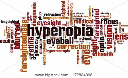 Hyperopia word cloud concept. Vector illustration on white