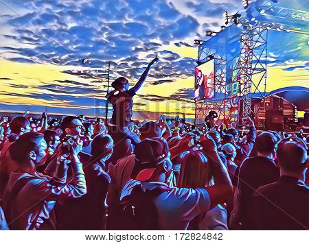 Young people crowd on a music concert near scene. Digital illustration of open air concert. Popular music concert with fan crowd in front of the scene. Happy people dancing on sunset image