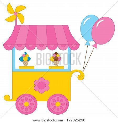 Vector ice cream kiosk, ice cream cones, balloons