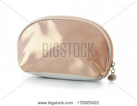Cosmetic bag with zipper on white background
