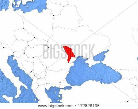 Moldova On Globe