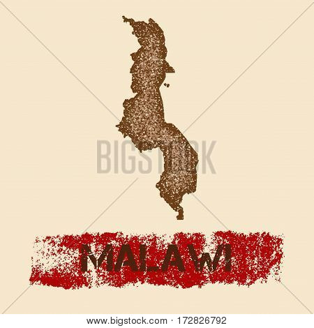 Malawi Distressed Map. Grunge Patriotic Poster With Textured Country Ink Stamp And Roller Paint Mark
