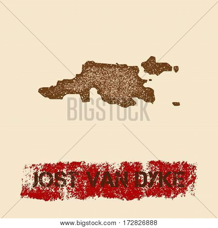Jost Van Dyke Distressed Map. Grunge Patriotic Poster With Textured Island Ink Stamp And Roller Pain