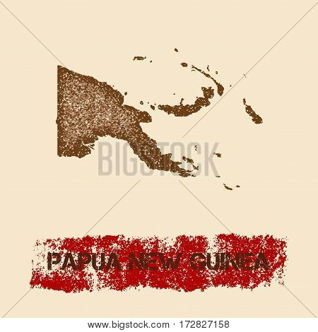 Papua New Guinea Distressed Map. Grunge Patriotic Poster With Textured Country Ink Stamp And Roller