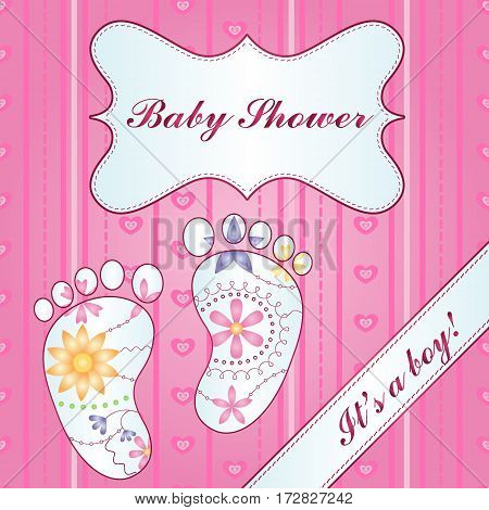 Vector background with banner and feet baby shower girl gradient
