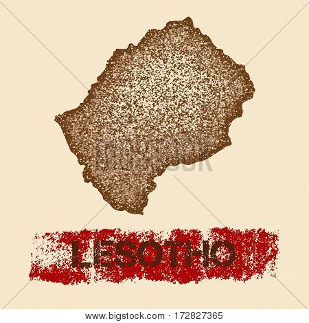 Lesotho Distressed Map. Grunge Patriotic Poster With Textured Country Ink Stamp And Roller Paint Mar