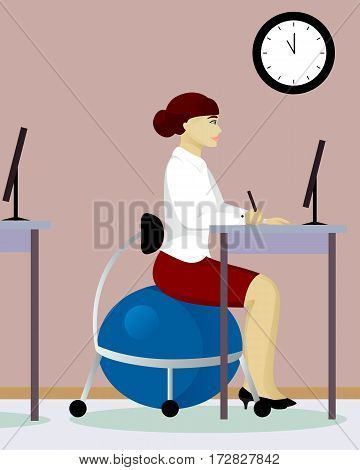 woman sit on fitball in office vector