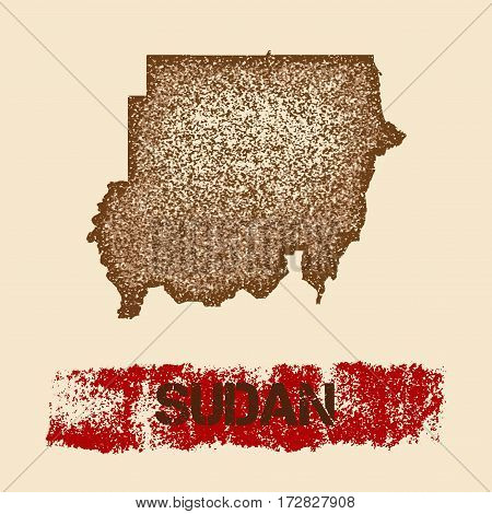 Sudan Distressed Map. Grunge Patriotic Poster With Textured Country Ink Stamp And Roller Paint Mark,