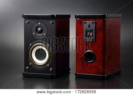 two stereo audio speakers on dark background