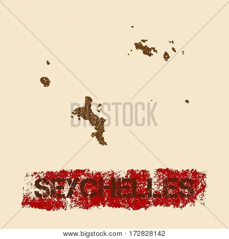 Seychelles Distressed Map. Grunge Patriotic Poster With Textured Island Ink Stamp And Roller Paint M