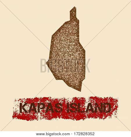 Kapas Island Distressed Map. Grunge Patriotic Poster With Textured Island Ink Stamp And Roller Paint