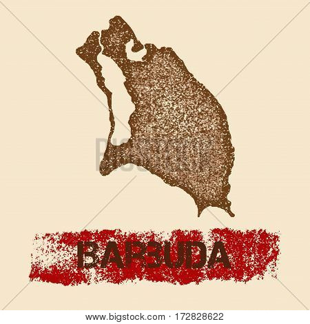 Barbuda Distressed Map. Grunge Patriotic Poster With Textured Island Ink Stamp And Roller Paint Mark