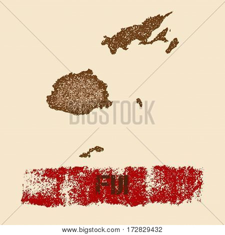 Fiji Distressed Map. Grunge Patriotic Poster With Textured Country Ink Stamp And Roller Paint Mark,