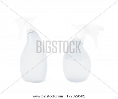 White plastic pulverizer spray isolated over the white background, set of two different foreshortenings
