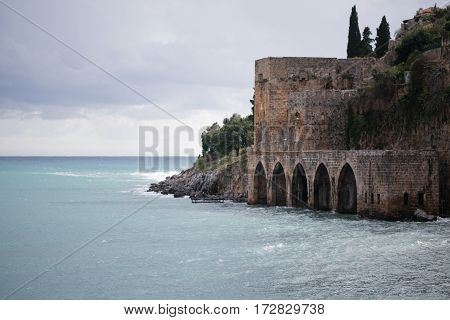Medieval Shipyard With Arches In Alanya