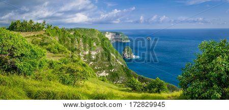 Coastline, Thousand Island, near Manta Bay or Kelingking Beach on Nusa Penida Island, Bali, Indonesia.