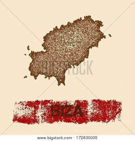 Ibiza Distressed Map. Grunge Patriotic Poster With Textured Island Ink Stamp And Roller Paint Mark,