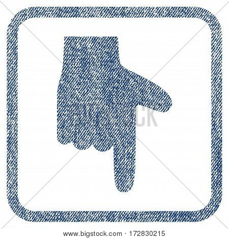 Hand Pointer Down vector textured icon for overlay watermark stamps. Blue jeans fabric vectorized texture. Symbol with dust design inside rounded rectangular frame.