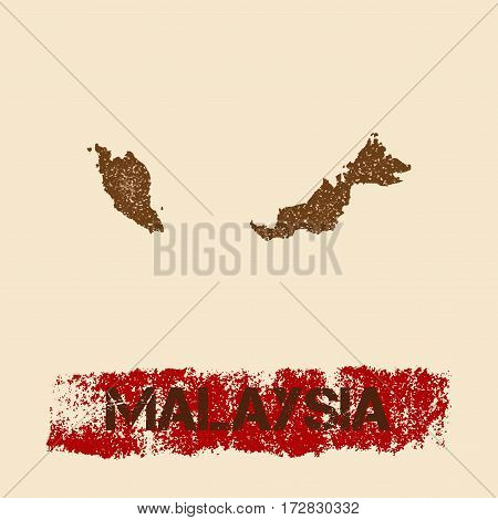 Malaysia Distressed Map. Grunge Patriotic Poster With Textured Country Ink Stamp And Roller Paint Ma