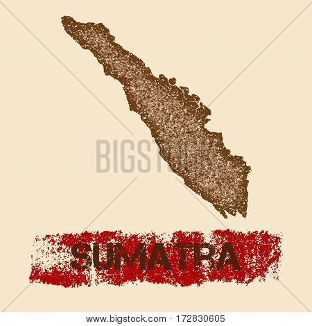 Sumatra Distressed Map. Grunge Patriotic Poster With Textured Island Ink Stamp And Roller Paint Mark