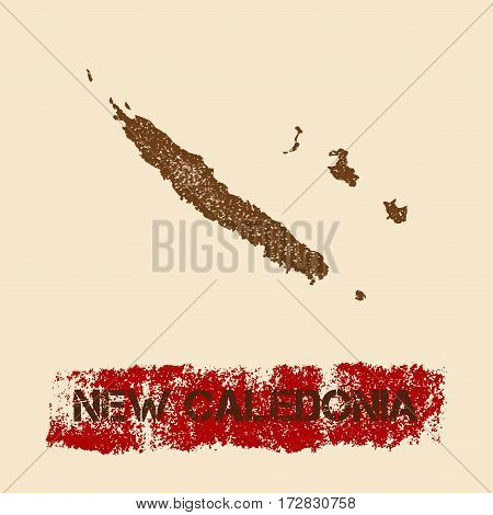 New Caledonia Distressed Map. Grunge Patriotic Poster With Textured Country Ink Stamp And Roller Pai