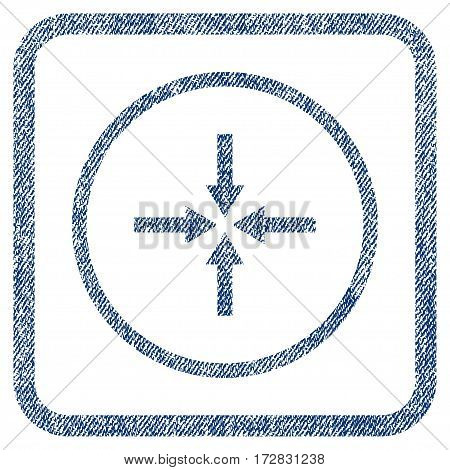 Impact Arrows vector textured icon for overlay watermark stamps. Blue jeans fabric vectorized texture. Symbol with scratched design inside rounded rectangle.