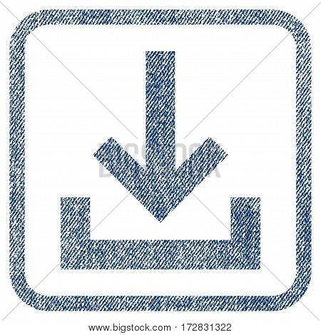Inbox vector textured icon for overlay watermark stamps. Blue jeans fabric vectorized texture. Symbol with unclean design inside rounded rectangular frame.