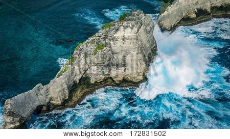 Beautiful Huge Wave hitting Rock on Atuh Beach, Nusa Penida, Bali - Indonesia