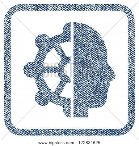 Intellect vector textured icon for overlay watermark stamps. Blue jeans fabric vectorized texture. Symbol with dust design inside rounded rectangle.