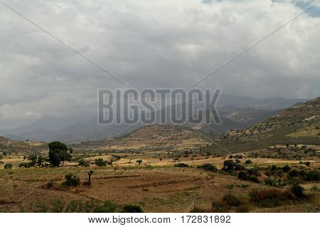 The landscape at Lalibela of Ethiopia in Africa