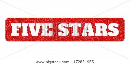 Red rubber seal stamp with Five Stars text hole. Vector tag inside rounded rectangular shape. Grunge design and unclean texture for watermark labels. Scratched sign.