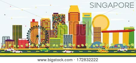 Singapore Skyline with Color Buildings and Blue Sky. Business Travel and Tourism Concept. Image for Presentation Banner Placard and Web Site.