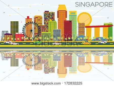 Singapore Skyline with Color Buildings, Blue Sky and Reflections. Business Travel and Tourism Concept. Image for Presentation Banner Placard and Web Site.