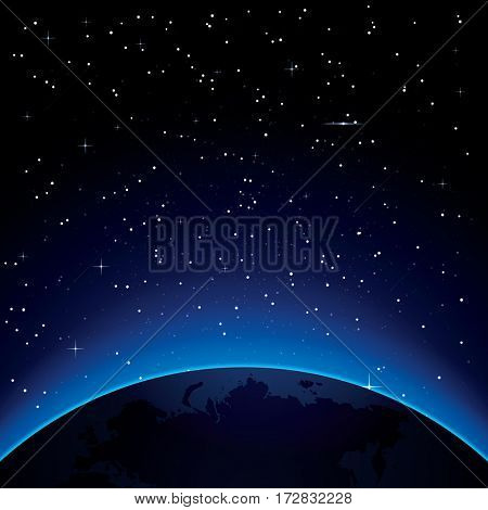 Earth with Stars and Copy Space. Space.