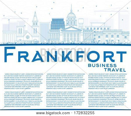 Outline Frankfort Skyline with Blue Buildings and Copy Space. Business Travel and Tourism Concept with Modern Architecture. Image for Presentation Banner Placard and Web Site.