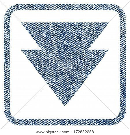 Move Down vector textured icon for overlay watermark stamps. Blue jeans fabric vectorized texture. Symbol with unclean design inside rounded rectangular frame.