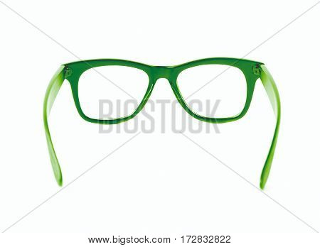 Pair of wooden textured optical reading glasses isolated over the white background
