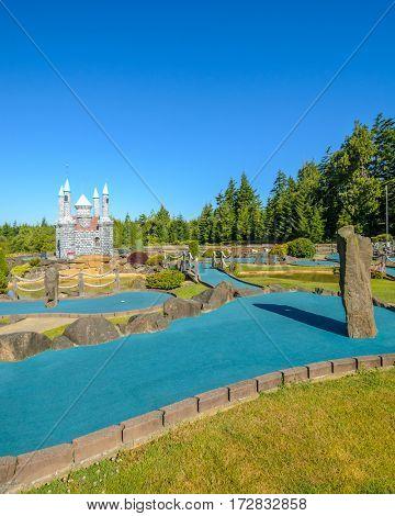 Beautiful mini golf course at sunny day.