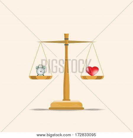 Balance heart and clock on scales Current value of the world time and love or health and time conceptual flat design vector illustration.
