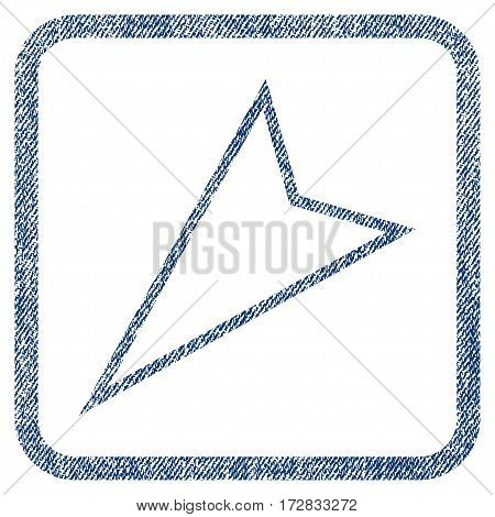 Pointer Left Down vector textured icon for overlay watermark stamps. Blue jeans fabric vectorized texture. Symbol with dirty design inside rounded rectangle.