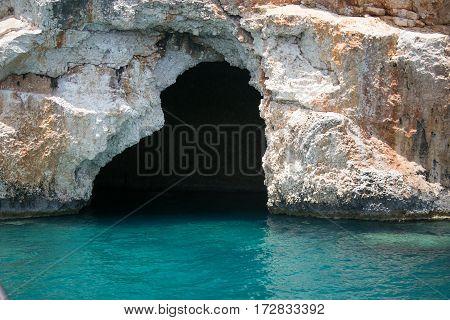 Sea Cave In Bay Of Uchagiz In Mediterranean Turkey