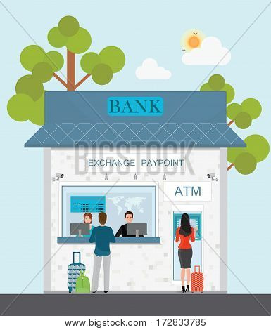 Bank counter currency exchange service and atm with customer cash box Banking and finance concept design element in flat style Vector illustration.