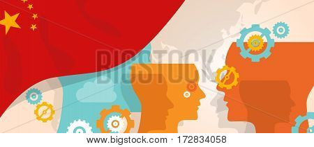 China concept of thinking growing innovation discuss country future brain storming under different view represented with heads gears and flag vector