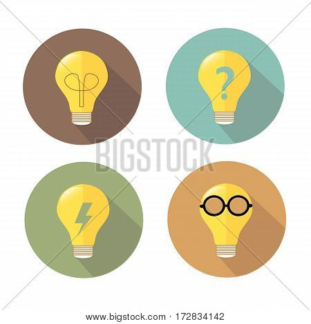 lightbulb in circle vector icon with shadow
