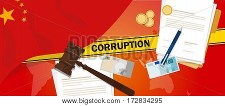 China fights corruption money bribery financial law contract police line for a case scandal government official vector