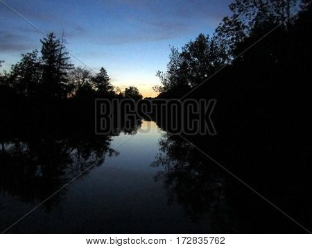 Sunset over Marsh Creek from Sachs Covered Bridge, Getysburg national military park, Getysburg Pennsylvania