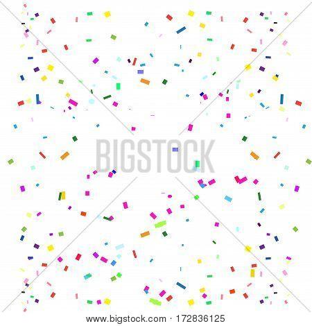 Colorful confetti carnival background. Bright confetti on white background. Vector illustration